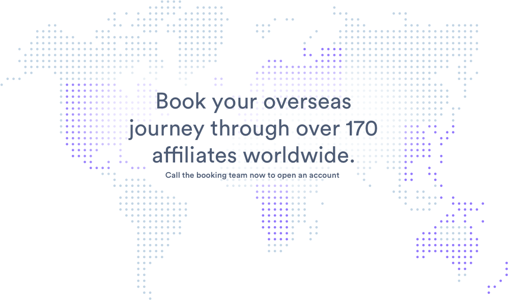 Book your overseas journey through over 170 affiliates worldwide